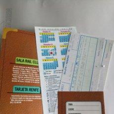 Coleccionismo Billetes de transporte: 2 BILLETES RENFE, CON CALENDARIO DÍAS AZULES AÑO 91-92 CARACTERÍSTICAS TRENES,CARPETA PARA GUARDAR.. Lote 209421763