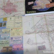 Coleccionismo Billetes de transporte: EXPOSICION BARCELONA 1929 PLANOS TRANSPORTE TRANVIA FUNICULAR ENTRADA LEER INT. BILLETES CGA RENFE. Lote 196917792