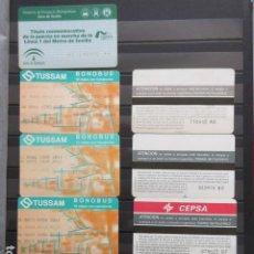 Coleccionismo Billetes de transporte: UNICO EN LA WEB COLECCION 57 TARJETAS DIFERENTES TUSSAM SEVILLA METRO CARTON Y PLATICO LEER INTERIOR. Lote 197081611