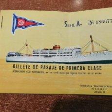 Coleccionismo Billetes de transporte: BILLETE PRIMERA CLASE TRANSMEDITERRANEA. 1961. Lote 197219352