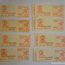 Coleccionismo Billetes de transporte: LOTE DE 8 ANTIGUOS BILLETES DE TRANSPORTE ,CONMEMORATIVOS, TB, BARCELONA, VER FOTOS. Lote 197288685