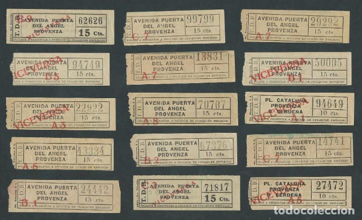 LOTE ANTIGUOS BILLETES TRANVIA BARCELONA TICKET BILLETE CAPICUA (Coleccionismo - Billetes de Transporte)