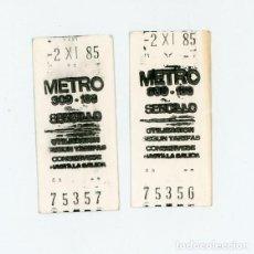 Coleccionismo Billetes de transporte: DOS BILLETES SENCILLOS DEL METRO DE MADRID DE 1985. CAJA POSTAL, UN MUNDO DE SERVICIOS. 2/11/1985. Lote 197606992