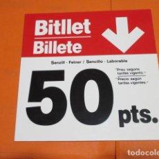 Coleccionismo Billetes de transporte: ANTIGUO CARTEL PRECIO BILLETE TRANVIA O AUTOBUS DE BARCELONA REVERSIBLE PLASTICO MUY DURO LEER INTER. Lote 198892548