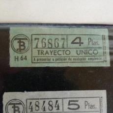 Coleccionismo Billetes de transporte: LOTE 2 BILLETES DE TRANVIA ANTIGUOS DE BARCELONA 5 Y 4 PESETAS. Lote 199131123