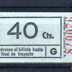Coleccionismo Billetes de transporte: BONITO BILLETE DE TRANVIA DE S.SEBASTIAN 40 CTS. AÑOS 1930/40. Lote 199240981