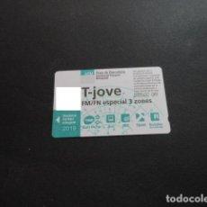 Collezionismo Biglietti di trasporto: TARJETA T-JOVE FM/FN ESPECIAL 3 ZONAS 2019. Lote 199369073