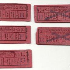 Coleccionismo Billetes de transporte: 5 CAPICUAS PUBLICIDAD.COMPAÑIA GENERAL TRANVIAS.INTERESANTE. Lote 199957518
