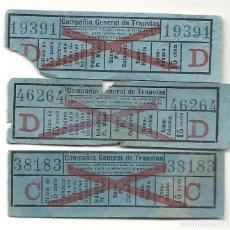 Coleccionismo Billetes de transporte: 3 BILLETES CAPICUAS COMPAÑIA GENERAL TRANVIAS.. Lote 199958160