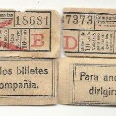 Coleccionismo Billetes de transporte: 4 CAPICUAS COMPAÑIA GENERAL TRANVIAS. Lote 199958847