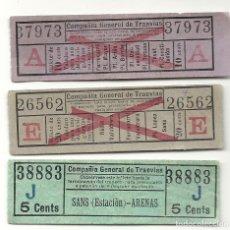 Coleccionismo Billetes de transporte: 3 BILLETES RAROS COMPAÑIA GENERAL TRANVIAS.INTERESANTE. Lote 199959062