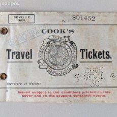 Coleccionismo Billetes de transporte: 1930 COOK'S BILLETE FERROCARRIL CORDOBA BAEZA ALCAZAR CHICHILLA ENCINA VALENCIA TARRAGONA BARCELONA. Lote 200526287