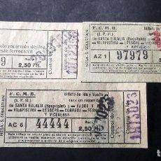 Coleccionismo Billetes de transporte: BILLETES DE FERROCARRILES CATALANES F.C.M.B.. Lote 201362418
