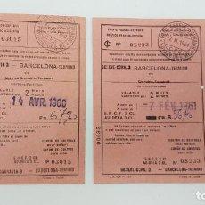Coleccionismo Billetes de transporte: 2 BILLETES ANTIGUOS DE TREN GINEBRA-BARCELONA DE 1960-1961 ( POR PORT BOU ). Lote 202109423