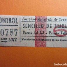Coleccionismo Billetes de transporte: BILLETE MADRID SERVICIO DE TRABAJO Nº 6 PUERTA DEL SOL PUENTE VALLECAS. Lote 202582000