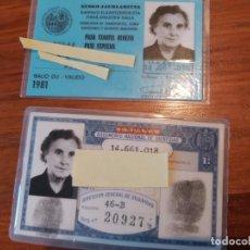 Coleccionismo Billetes de transporte: BILLETE TREN FERROCARRIL GOBIERNO VASCO 1981 PASE ESPECIAL Y DNI EXPEDIDO 1973 DE LA MISMA PERSONA. Lote 204826023