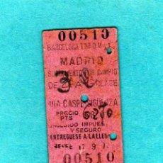 Coleccionismo Billetes de transporte: ANTIGUO BILLETE DE TREN BARCELONA T.-MADRID SUPLEMENTO DE CAMBIO DE 3ªCL A 2ª CL.AÑO 1948 PTAS.62,70. Lote 205683773