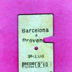 Coleccionismo Billetes de transporte: BILLETE FERROCARRILES CATALANES AÑO 1920 RECORRIDO BARCELONA A PROVENZA 0,10 PTAS.. Lote 205700882