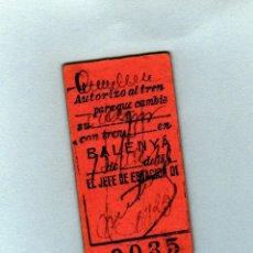 Coleccionismo Billetes de transporte: BILLETE DE AUTORIZACION DE TREN PARA CAMBIO BALENYA AÑO 1920. Lote 206273086