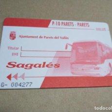 Coleccionismo Billetes de transporte: P-10 PARETS DEL VALLES. Lote 206280592