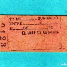 Coleccionismo Billetes de transporte: BILLETE DE TREN DEL JEFE DE ESTACION PARA SUPRIMIR SERVICIO SIN USAR EPOCA 1920. Lote 206283182