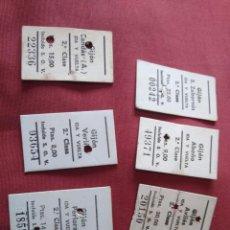 Coleccionismo Billetes de transporte: LOTE DE 5 BILLETES DE TREN EN CARTÓN GIJON EN ASTURIAS A VERIÑA, PERLORA, CANDÁS, ZABORNIN. ETC. Lote 206333795