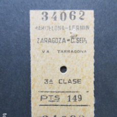 Coleccionismo Billetes de transporte: BILLETE EDMONSON RENFE BARCELONA TERMINO ZARAGOZA 149 PESETAS SELLO TRASERA EXPRESO 5805. Lote 206865566