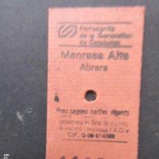 Coleccionismo Billetes de transporte: BILLETE EDMONSON FERROCARRILES GENERALITAT MANRESA ALTA ABRERA. Lote 206865663