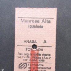 Coleccionismo Billetes de transporte: BILLETE EDMONSON FERROCARRILES GENERALITAT MANRESA ALTA IGUALADA. Lote 206866153