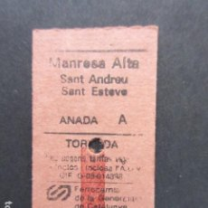 Coleccionismo Billetes de transporte: BILLETE EDMONSON FERROCARRILES GENERALITAT MANRESA ALTA SANT ANDREU SANT ESTEVE. Lote 206866186