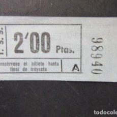 Coleccionismo Billetes de transporte: BILLETE TSS TRANVIAS DE SAN SEBASTIAN MODALIDAD SERIE DE 5 CIFRAS COLOR AZUL. Lote 206866278