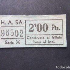 Coleccionismo Billetes de transporte: BILLETE AUTOBUSES H.A. S.A. COLOR VERDE. Lote 206866325