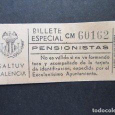 Coleccionismo Billetes de transporte: BILLETE ESPECIAL PENSIONISTAS SALTUV VALENCIA. Lote 206866436