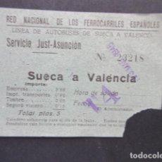 Coleccionismo Billetes de transporte: BILLETE RENFE RED NACIONAL FERROCARRILES ESPAÑOLES AUTOBUS TRAYECTO SUECA VALENCIA. Lote 206866497