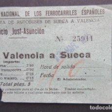 Coleccionismo Billetes de transporte: BILLETE RENFE RED NACIONAL FERROCARRILES ESPAÑOLES AUTOBUS TRAYECTO VALENCIA SUECA. Lote 206866525