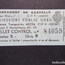 Coleccionismo Billetes de transporte: BILLETE CASTELLON CONTROL VERDE. Lote 206866556