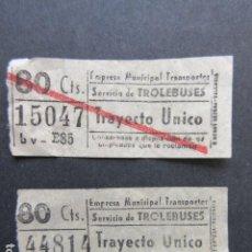 Coleccionismo Billetes de transporte: 2 BILLETE MADRID TROLEBUSES BARRADO Y SIN BARRAR 80 CENTIMOS. Lote 206866626