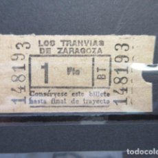 Coleccionismo Billetes de transporte: BILLETE TRANVIAS DE ZARAGOZA 1 PESETA. Lote 206866676