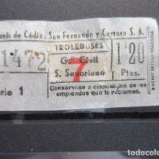 Coleccionismo Billetes de transporte: BILLETE TRANVIAS DE CADIZ TROLEBUSES 1.20 PESETAS. Lote 206866762