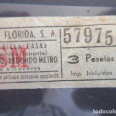 Coleccionismo Billetes de transporte: BILLETE AUTOBUSES FLORIDA BARCELONA 3 PESETAS VER TRAYECTOS - CAPICUA 57975. Lote 206866993
