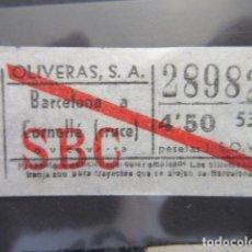 Coleccionismo Billetes de transporte: BILLETE AUTOBUSES OLIVERAS BARCELONA 4.50 PESETAS VER TRAYECTOS - CAPICUA 28982. Lote 206867020