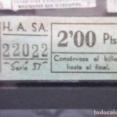 Coleccionismo Billetes de transporte: BILLETE AUTOBUSES H.A. S.A.A 2 PESETAS - CAPICUA 22022. Lote 206867130
