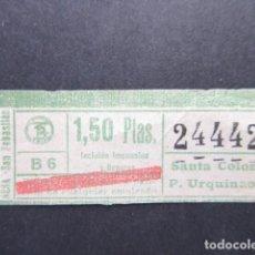 Coleccionismo Billetes de transporte: BILLETE AUTOBUSES TRANVIAS BARCELONA SANTA COLOMA PLAZA URQUINAONA - CAPICUA 24442. Lote 206867263