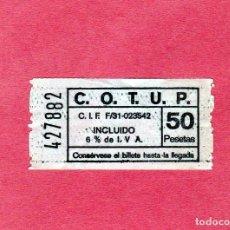 Coleccionismo Billetes de transporte: CURIOSO BILLETE DE C.O.T.U.P. (PAMPLONA) PTAS. 50. Lote 206930308