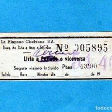 Coleccionismo Billetes de transporte: BILLETE DE LINEA DE AUTOBUSES LA HISPANO CHELVANA S.A. (VALENCIA) ENTRE LIRIA A ¿COLLADO?PTAS.43,90. Lote 206931201