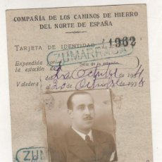 Coleccionismo Billetes de transporte: COMPAÑÍA DE LOS CAMINOS DE HIERRO DEL NORTE DE ESPAÑA. ZUMÁRRAGA. TARJETA IDENTIDAD 1934. Lote 207010190