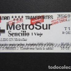 Coleccionismo Billetes de transporte: MADRID - METRO METROSUR SENCILLO 1 VIAJE T1 LOGO EN ROJO. Lote 207064596