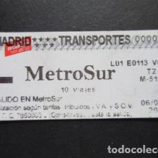 Coleccionismo Billetes de transporte: MADRID - METRO METROSUR SENCILLO 10 VIAJE T2 LOGO EN ROJO. Lote 207064686