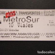 Coleccionismo Billetes de transporte: MADRID - METRO METROSUR SENCILLO 10 (TEXTO EN GRANDE) VIAJE T2 LOGO EN ROJO. Lote 207064737