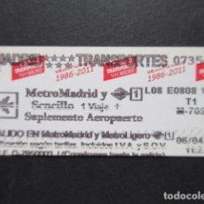 Coleccionismo Billetes de transporte: MADRID - METRO SENCILLO 1 VIAJE T1 LOGO EN ROJO SUPLEMENTO AEROPUERTO. Lote 207064887